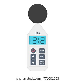 Professional sound level meter with LCD screen. Meter to measure sound level. Vector flat icon isolated on white. A/C frequency weighting.