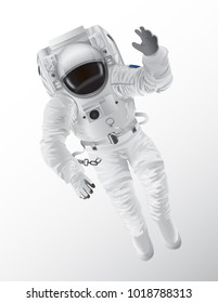 Professional spaceman in modern pressure suit with oxygen balon on back and tinted helmet isolated cartoon vector illustration on white background.