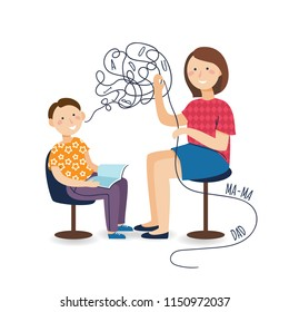 Professional speech therapy for preschool kid with therapist. Isolated vector
