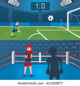 Professional sport horizontal banners with football player scoring goal and female boxers  in boxing ring vector illustration