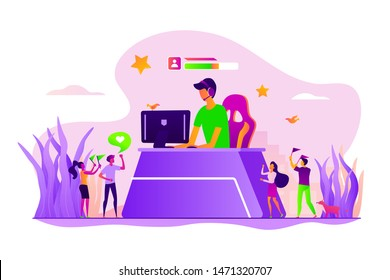 Professional streamer, digital leisure. Video blogger, gamer streaming live from home. E-sport fans, computer game fan, e-sport fan club concept. Vector isolated concept creative illustration