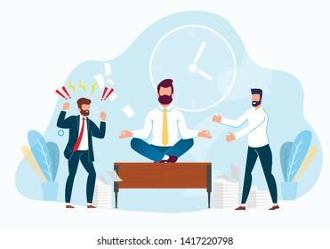 Professional Stress Management at Work Cartoon. Subordinate Laughs at Boss in Anger. Managing Emotions Workplace Resolves Conflict Situations. Vector Illustration. Office Worker Relaxes Workplace.