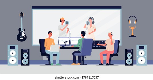 Professional studio for audio, sound or music recording. A music producer listens to singers with microphone. Equipment for production of soundtracks. Vector flat illustration