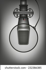 Professional Studio Microphone with Pop Filter. Vector and Jpg