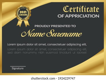 Creative and Professional Stylish certificate template design in golden theme