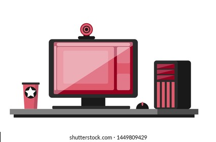 Professional stylish gaming equipment. Desktop PC, monitor on the table, webcam. Livestreaming and eSports clipart. Flat vector. Desktop girl gamer. Online training. White background