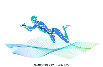 Professional Swimmer Breaststroke Silhouette side view. Eps10