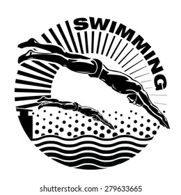 The professional swimmers dive on the competition. Vector illustration in the engraving style.