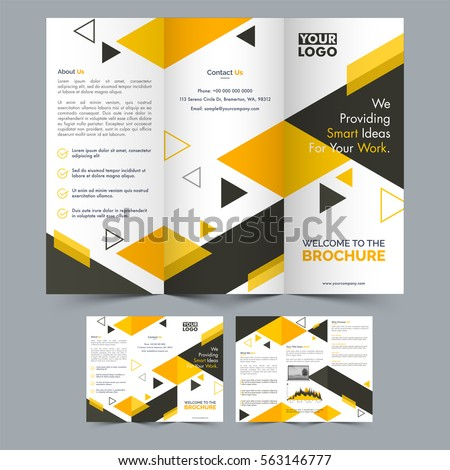 professional three fold brochure layout front stock vector royalty