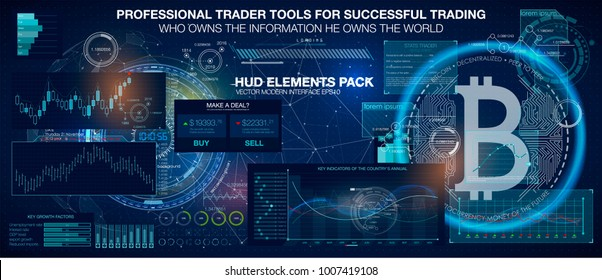 Professional trader tools for successful trading. HUD elements pack. Infographic elements. Bitcoin digital currency, futuristic digital money, technology worldwide network concept, vector illustration