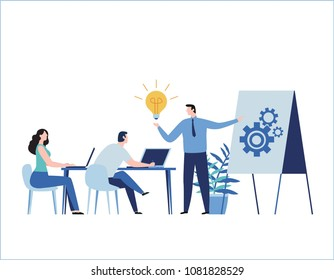 Professional training flat vector illustration.