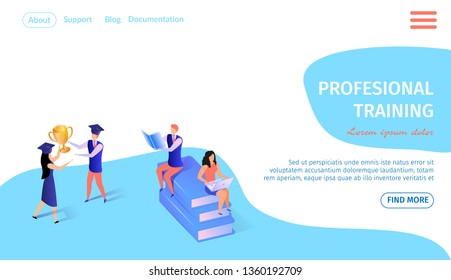 Professional Training Horizontal Banner with Copy Space. Man and Woman Sitting on Books Heap with Laptops. Young Guy and Girl in Academic Hat Hold Goldem Goblet. 3d Flat Vector Isometric Illustration.