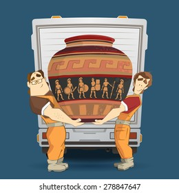Professional transportation company illustration. Two workers mover man holding and carrying big heavy old egyptian vintage antique vase. 3d color vector creative concept with characters.