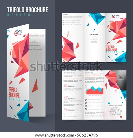 professional tri fold brochure layout modern abstract stock vector