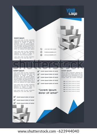 professional tri fold brochure template design front stock vector