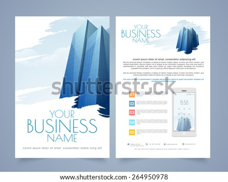 professional two page flyertemplate brochure design stock vector