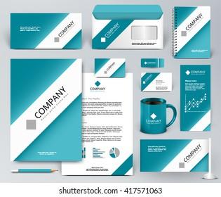 Professional universal branding design kit. White tape, ribbon on blue backdrop. Corporate identity template. Business stationery mock-up. Editable vector illustration: folder, cup, etc.