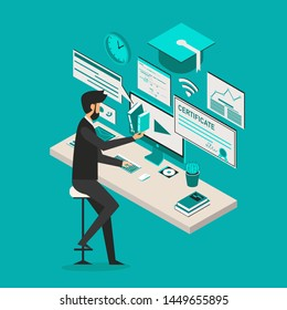 Professional vector flat images of Online Education with black man for website and mobile website.Web page design templates. Easy to edit and customize. Conceptual illustration. Blue background.