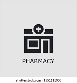 Professional vector pharmacy icon. Pharmacy symbol that can be used for any platform and purpose. High quality pharmacy illustration.