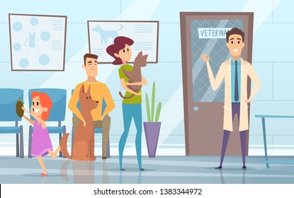 Professional veterinarian. Pets with their owners in reception at the vet clinic vector background