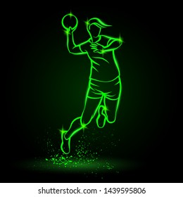 Professional volleyball player jumps and hits the ball. Vector neon volleyball girl illustration for sport banner, background and flyer.