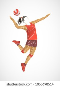 Professional volleyball players in action on the court. Abstract volleyball player, pink vector