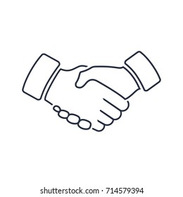 Professional welcome and respect handshake icon. Loyalty or partnership pictogram, friendship or deal token. Vector illustration