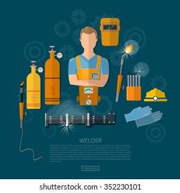 Professional welder welding tools and equipment vector illustration