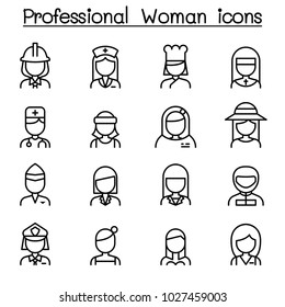 Professional woman icon in thin line style