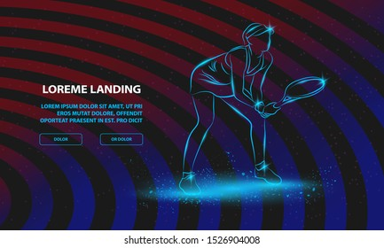 Professional woman tennis player standing ready for a serve. Vector Sport Background for Landing Page Template.