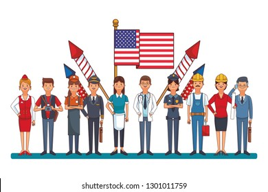 professional worker with flag
