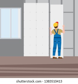 Professional worker man installing gypsum plasterboard panels in the interior. Vector illustration, isolated. Construction industry, repair, new home, building interior