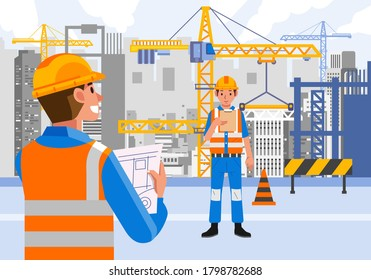 professional worker working on construction site wearing savety equipment, crane and heavy equipment build the building behind. used for website image, info graphic and other