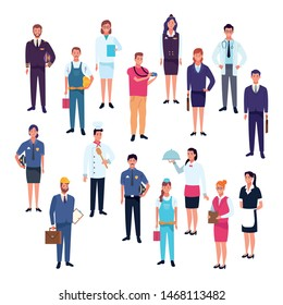 Professional workers labor day cartoons, set of characters, people and jobs. vector illustration graphic design.