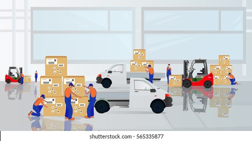 Professional workers load the goods in the warehouse. Marketing services. The design of the composition on a light background. Vector graphics.