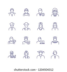 Professionals line icon set. Doctor, sportsman, policeman. Occupation concept. Can be used for topics like work, vocation, expertise