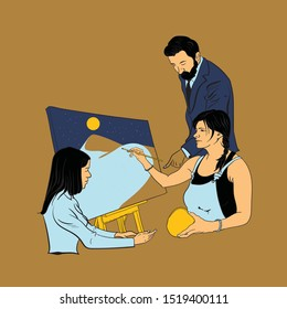 professionals meet the artist discussing about the art. woman painting on a canvas vector illustration