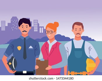 Professionals workers smiling with work tools cartoons in the city, urban scenery background ,vector illustration graphic design.
