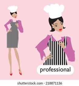Professionl, female chef set. Vector. 10 Eps.