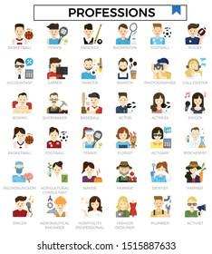 Professions avatar user flat icon set.