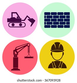 Professions. Builder. People at work. Set. Vector icon.