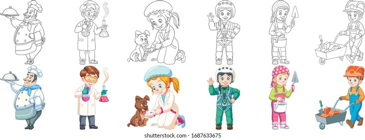 Professions. Cartoon clipart set for kids activity coloring book, t shirt print, icon, logo, label, patch or sticker. Vector illustration.