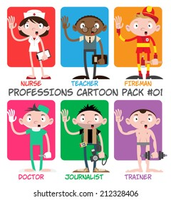 Professions Cartoon Pack #01 - Nurse, Teacher, Fireman, Doctor, Journalist, Trainer