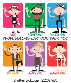Professions Cartoon Pack #02 - Maid, Fisherman, Policeman, Manager, Gardener, Karate Kid