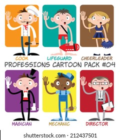 Professions Cartoon Pack #04 - Cook, Lifeguard, Cheerleader, Magician, Mechanic, Director