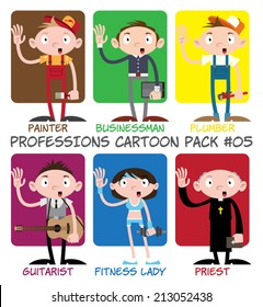 Professions Cartoon Pack #05 - Painter, Businessman, Plumber, Guitarist, Fitness Lady, Priest