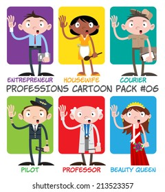 Professions Cartoon Pack #06 - Entrepreneur, Housewife, Courier, Pilot, Professor, Beauty Queen