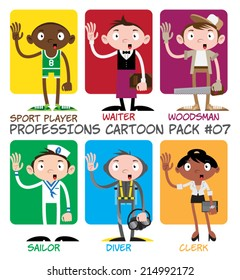 Professions Cartoon Pack #07 - Sport Player, Waiter, Woodsman, Sailor, Diver, Clerk