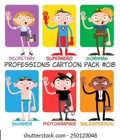 Professions Cartoon Pack #08 - Secretary, Superhero, Workman, Swimmer, Photographer, Salesman