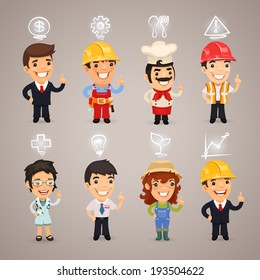Professions Characters with Icons. In the EPS file, each element is grouped separately.